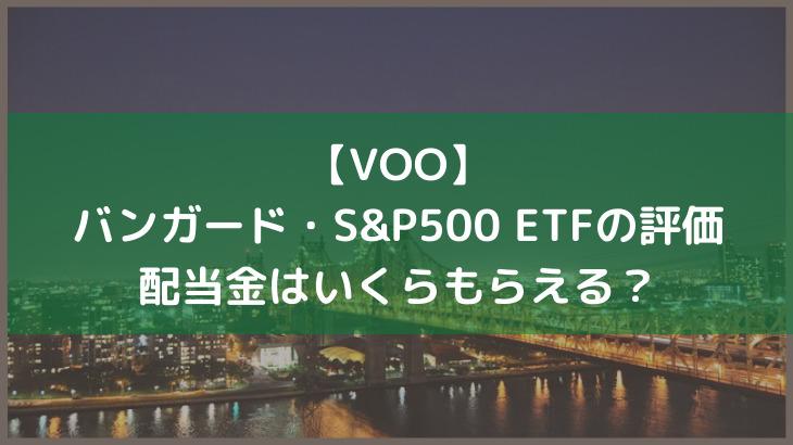 【VOO】バンガード・S&P500 ETFの評価ってどう?配当金はいくらもらえる?